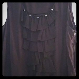 Black Ruffle Detail Sleeveless Dress Shirt
